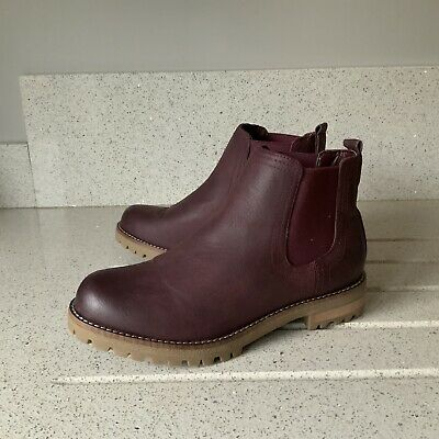 NEXT LADIES  BURGUNDY CHUNKY CASUAL CHELSEA BOOTS SIZE Uk 4 (37) • 14.99£