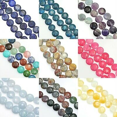 £8.99 • Buy Coin Flat Round Disc Semi Precious Gemstone Beads For Jewellery Making 16 Mm