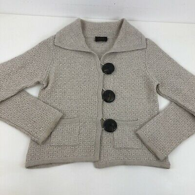 Pure Collection Cashnere Lambswool Button Up Cardigan Boucle Fabric Sz M • 34.99£
