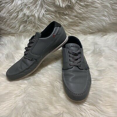 LACOSTE Dreyfus Mens Sport Casual Leather Sneaker Shoes Size 9 Gray Lace Up Boat • 28.27£