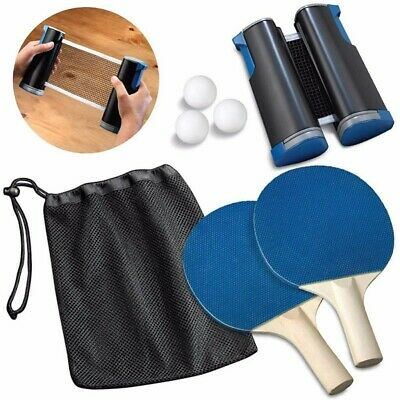 Professional Table Tennis Set Ping Pong Portable Retractable Net 2 Bats 3 Balls • 12.59£