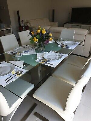 AU2150 • Buy Gainsville Glass Extendable Dining Table With 8 Gainsville Leather Chairs