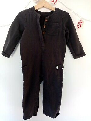 Marks & Spencer Baby Boy Charcoal Grey Warm Winter Romper Suit 18-24 Months • 2£