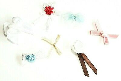 7 Assorted Bow Decorations PASTEL Ribbon Bows For Sewing Flower Bows For Crafts • 1.49£