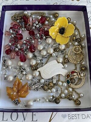 $ CDN31.56 • Buy Vintage Jewelry Lot 8 Ps Brooches & Necklaces Multi Set Flower Bird Leaf ...