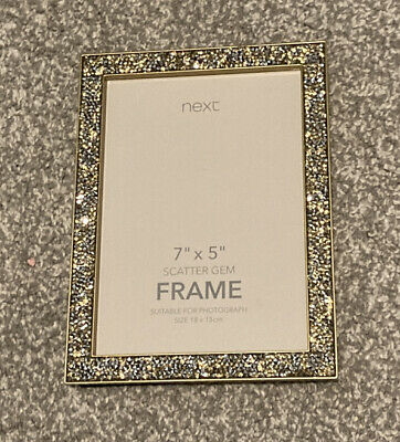 Next 7x5 Inch Scatter Gem Silver Sparkle Photo Picture Frame New • 1.40£
