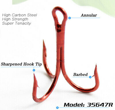 $ CDN5.33 • Buy Lots 50pcs Fly Fishing Barbed Treble Hooks Red High Carbon Steel Fishhook 4#