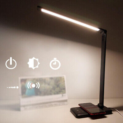 AU22.99 • Buy Desk Table Lamp Reading Night Light Dimmable USB LED Wireless Phone Charger Lamp