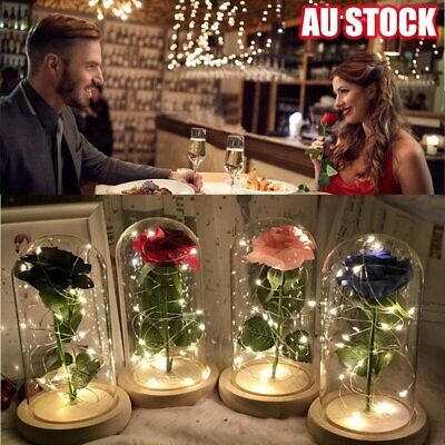 AU25.96 • Buy LED Light Enchanted Rose In Glass Dome Valentine's Day Gift Home Decoration BO
