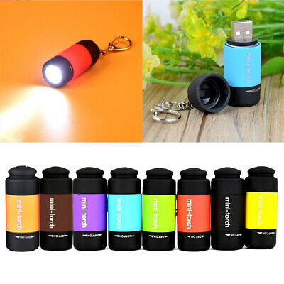 Waterproof USB Rechargeable LED Flashlight Lamp Pocket Keychain Mini Torch MC • 4.93£