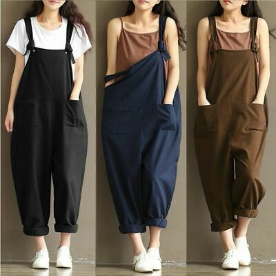 Ladies BAGGY Loose Linen Cotton Jumpsuit Dungarees Playsuit Trousers Overalls UK • 8.97£