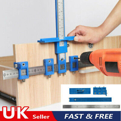 £8.59 • Buy Punch Locator Drill Guide Sleeve Cabinet Hardware Jig Drawer Pull Wood Dowel Kit