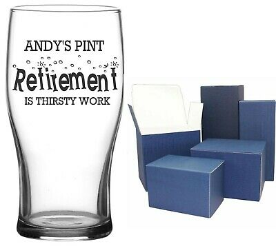 Personalised Engraved TULIP PINT GLASS CIDER BEER LAGER RETIREMENT THIRSTY WORK • 9.99£
