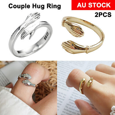 AU9.16 • Buy 2PCS Couple Hug Ring Adjustable Open Ring 925 Sterling Silver Rings Silver/Gold