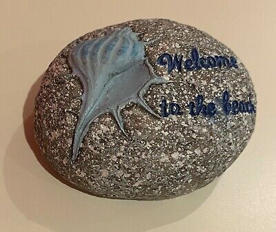 Seaside 'Welcome To The Beach' Stone Sign • 2.80£