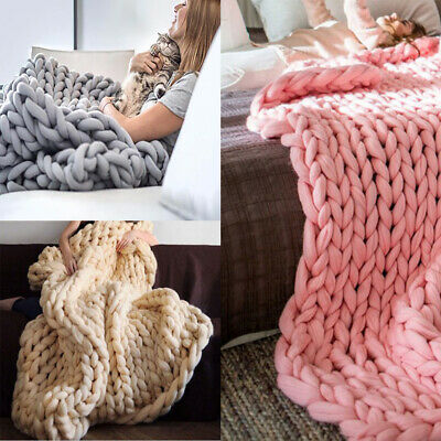 £42.95 • Buy Chunky Woolen Hand Knitted Cable Knit Blanket Sofa Bed Throw 60-150cm Rug Warm