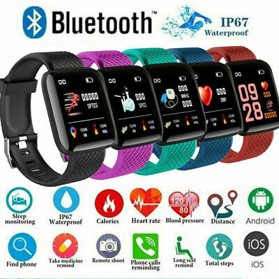 AU15.67 • Buy Smart Watch Bluetooth Heart Rate Blood Pressure IP67 Waterproof  For IOS Android