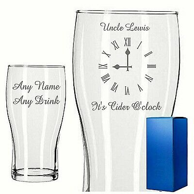 Personalised Engraved PINT GLASS BEER LAGER CIDER O'CLOCK BIRTHDAY ANY • 9.99£