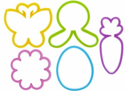 5 X Easter Kitchen Cookie Cutters - Bunny Egg Carrot Flower Butterfly Baking  • 3.29£