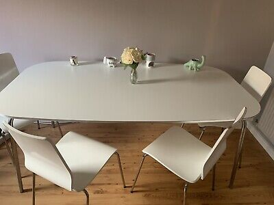 IKEA White Dining Table And 4 Chairs • 120£
