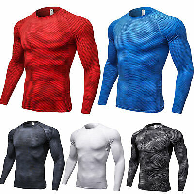 Men Compression Base Layer Sports Shirts Running Long Sleeve Fitness Muscle Tops • 9.97£