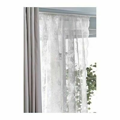 IKEA ALVINE SPETS Curtains Sheer Net LACE OFF WHITE 2 Panels  57x98  FREE SHIP • 23.60£