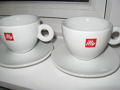 2x Original Illy Cappuccino Cups & Saucers Made In Italy In Excellent Condition • 21.99£