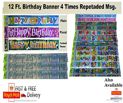 Foil Birthday Anniversary Banner Pink Blue Party Decoration Age Banner 12ft • 1.99£