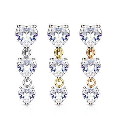£5 • Buy REVERSE DROP TOP DOWN BELLY BAR WITH 3 CLEAR CRYSTAL Cz HEARTS