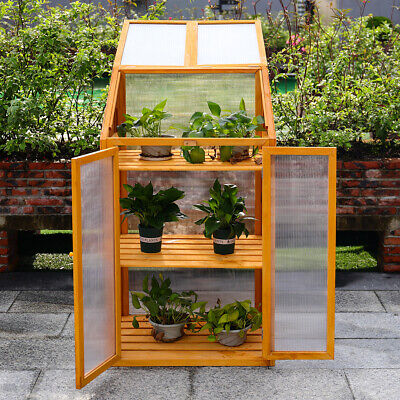£109.95 • Buy Mini Greenhouse Wooden Grow House Planter Polycarbonate Cover Cold Frame Shelter