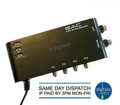 £16.99 • Buy SAC 4 Way Aerial Amplifier With IR Bypass Magic Eye Signal Booster TV FM DAB