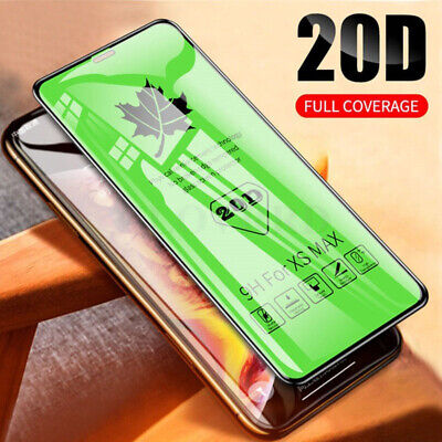 20D Full Cover Curved Screen Protector Tempered Glass For IPhone XS MAX XR 6 7 8 • 2.99£