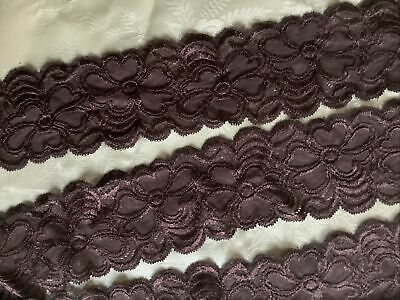 £6 • Buy 2.1 Metres Brown Lace 8cm Wide, Scalloped, Double Edge. E.