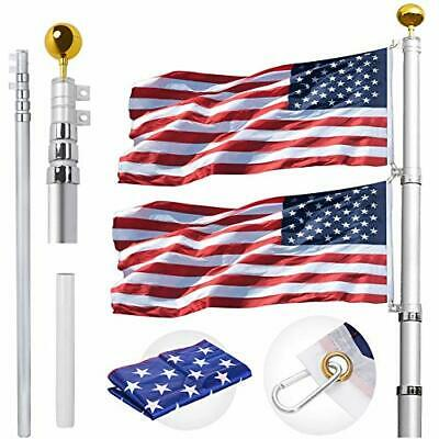 20FT Telescopic Flag Pole Kit, Flagpole With Free 3x5 Polyester American 20FT • 88.15£
