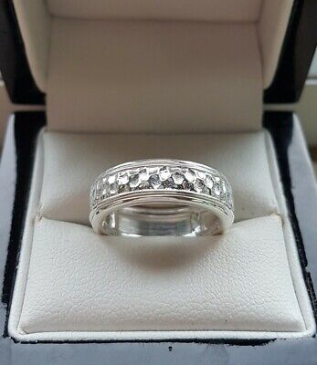 925 Sterling Silver Womens Hammered Effect Spinning / Spinner Ring New • 14.99£