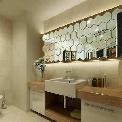 48X Acrylic 3D Mirror Effect Tile Wall Stickers Home Decor Stick Art Bathroom • 5.29£