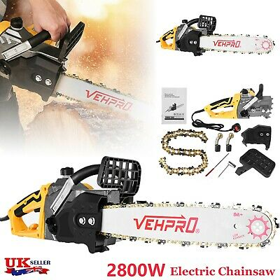VEHPRO 2800W Electric Chainsaw Garden Cutting Tool 18  45cm Aluminum Chain Saw • 66.66£