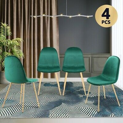 AU179.95 • Buy Soft Dining Chairs Velvet Kitchen Chairs Ergonomic Chair Set Of 4 With Metal Leg