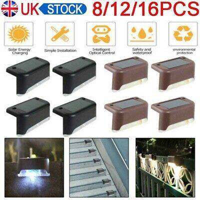 LED Solar Powered Fence Wall Lights Step Stair Path Decking Outdoor Garden Lamp • 9.59£