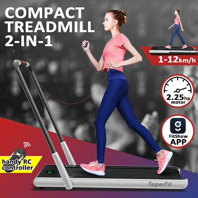 AU436 • Buy Folding Treadmill 2 In 1 Electric Walking Running Machine Home Office Gym