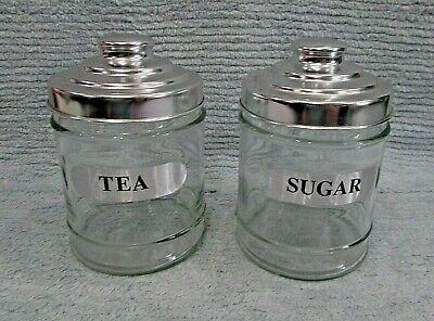 2 Vintage Clear Heavy Round Glass 4x6 Canister Jars Metal Lids Tea Sugar FREE SH • 17.73£