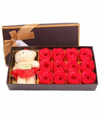 AU25.05 • Buy Valentines Day 12pcs Soap Roses Box With Teddy Bear Gifts Love For Him / Her