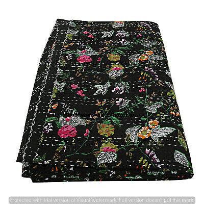 Hippie Black Floral Print Throw Kantha Indian Quilt Decor Twin Bedcover Blanket  • 23.99£