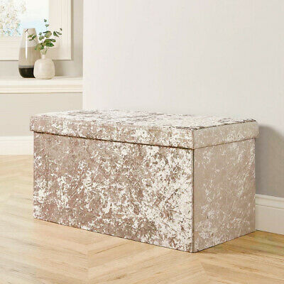 Large 2 Seater Crushed Velvet Foldable Ottoman Storage Box Double Bed Foot Stool • 23.24£
