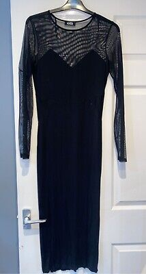 £9 • Buy G21 Black Maxi Bodycon Mesh Sleeve Mesh Side Stretchy Party Dress Size 10