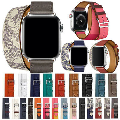 AU15.99 • Buy Leather Watch Band Double Tours Bracelet Strap For Apple IWatch 38/42mm 40/44mm