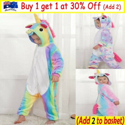 AU26.99 • Buy Rainbow Unicorn Onesie0 Child Unisex Kigurumi Cosplay Costume Pyjamas Pajamas