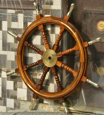 36 Inch Wooden Ship Steering Wheel Pirate Décor Brass Ring And Brass Hub  • 83.86£