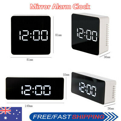 AU9.99 • Buy Mirror LED Alarm Clock Night Light Thermometer Digital Clock With USB Charging