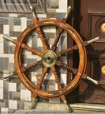 36 Inch Wooden Ship Steering Wheel Pirate Décor Brass Anchor And Brass Hub  • 79.86£